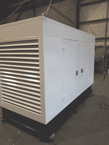 Completed, sprayed, weatherproof generator container